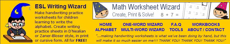 Handwriting Worksheet Wizard American Dyslexia Association – Math Worksheet Wizard