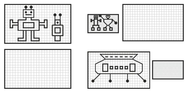 Robots drawing and mirroring American Dyslexia Association – Visual Perceptual Worksheets